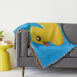 Monogram. Kawaii Cute Yellow Rubber Ducky. Throw Blanket