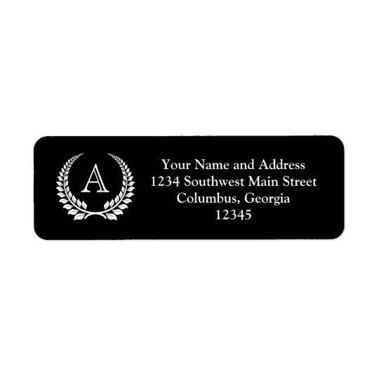 Monogram Laurel Black/White Return Address Label