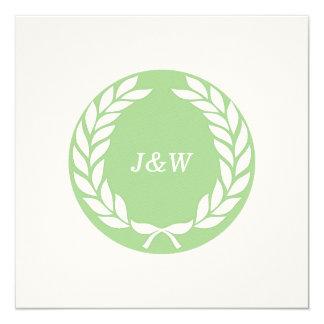 Monogram Laurel Leaf Wreath 13 Cm X 13 Cm Square Invitation Card