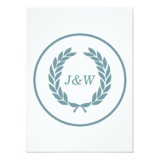 Monogram Laurel Leaf Wreath 14 Cm X 19 Cm Invitation Card