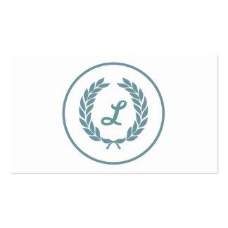 Monogram Laurel Leaf Wreath Business Card