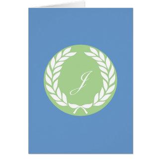 Monogram Laurel Leaf Wreath Greeting Cards