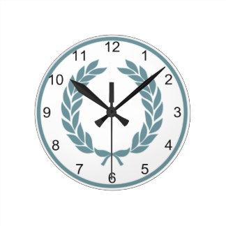 Monogram Laurel Leaf Wreath Round Clock