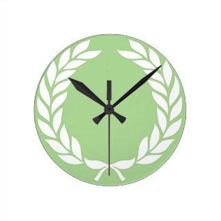 Monogram Laurel Leaf Wreath Clocks