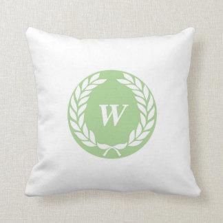 Monogram Laurel Leaf Wreath Throw Pillow