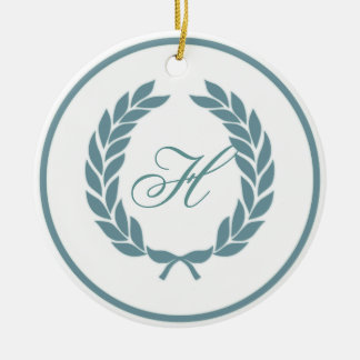 Monogram Laurel Leaf Wreath Christmas Ornaments