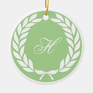 Monogram Laurel Leaf Wreath Ornament