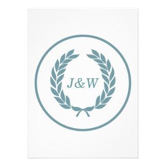 Monogram Laurel Leaf Wreath Invites