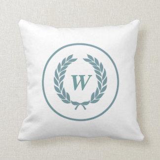Monogram Laurel Leaf Wreath Throw Pillows