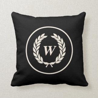Monogram Laurel Leaf Wreath Pillows