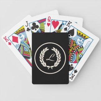 Monogram Laurel Leaf Wreath Playing Cards