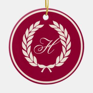 Monogram Laurel Leaf Wreath Round Ceramic Decoration