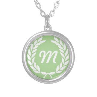 Monogram Laurel Leaf Wreath Round Pendant Necklace