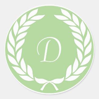 Monogram Laurel Leaf Wreath Round Sticker