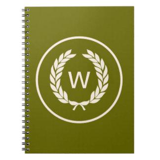 Monogram Laurel Leaf Wreath Spiral Notebook