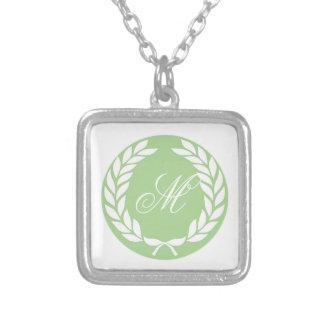 Monogram Laurel Leaf Wreath Square Pendant Necklace