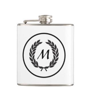 Monogram Laurel Leaf Wreath Flask