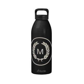 Monogram Laurel Leaf Wreath Water Bottles