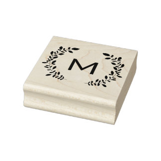 Monogram Laurel Rubber Stamp