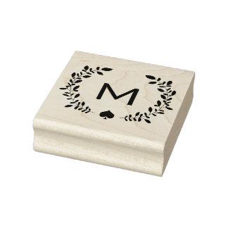 Monogram Laurel & Spade Rubber Stamp