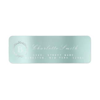 Monogram  Laurel Wreath Ocean Aqua Return Address Return Address Label