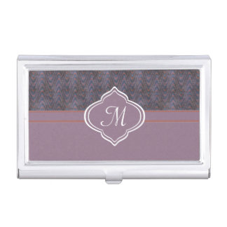 Monogram Lavender Blue Orange Grunge Wave Business Card Cases