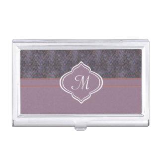 Monogram Lavender Blue Orange Grunge Wave Business Card Holder
