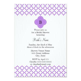 Monogram Lavender Quatrefoil Pattern Card