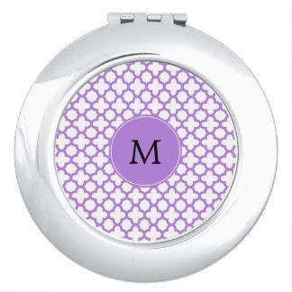 Monogram Lavender Quatrefoil Pattern Compact Mirrors