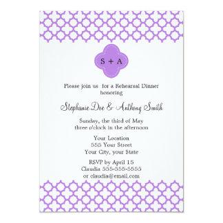Monogram Lavender Quatrefoil Pattern Rehearsal Card