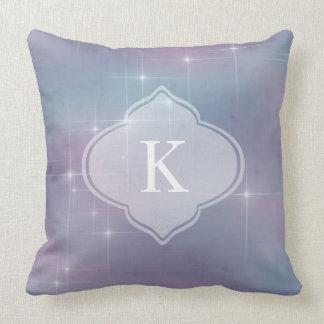 Monogram Lavender Teal Mauve Sparkle Cushion