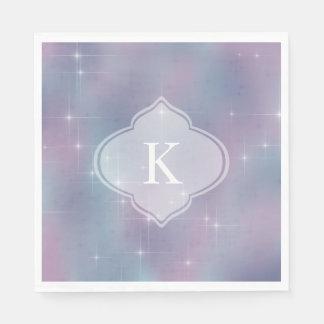 Monogram Lavender Teal Mauve Sparkle Disposable Napkins