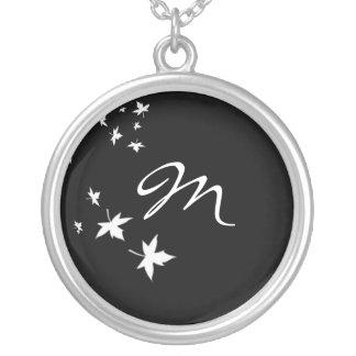 Monogram Leaf Black & White Silver Chain Necklace