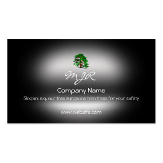 Monogram, Leafy Green Tree, metallic-effect Pack Of Standard Business Cards
