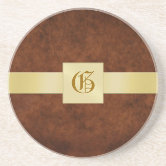 Monogram Leather Vintage Holiday Drink Coaster