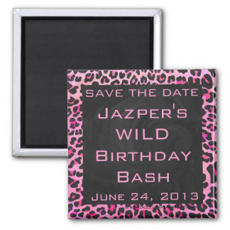 Monogram Leopard Black and Hot Pink Print Square Magnet
