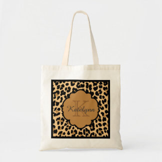 Monogram Leopard Print Custom Tote Bag