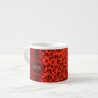 Monogram leopard print orange coffee espresso mug