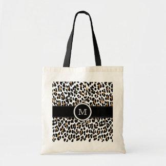 Monogram Leopard Print Tote Bag
