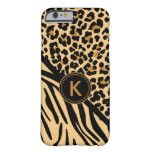 Monogram Leopard Zebra Print iPhone Case Barely There iPhone 6 Case