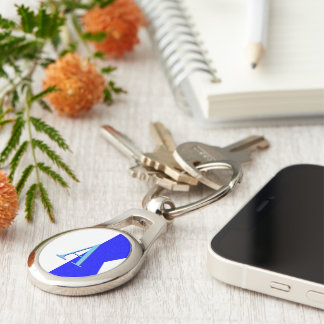 Monogram Letter A (Alpha) Nautical Alphabet Sign Silver-Colored Oval Key Ring