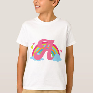 Monogram Letter A Alphabet Rainbow T-Shirt