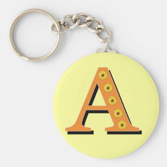 Monogram Letter A Basic Round Button Key Ring