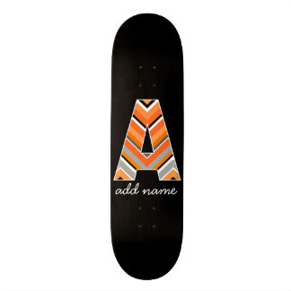 Monogram Letter A - Black Orange Chevron Pattern Custom Skate Board