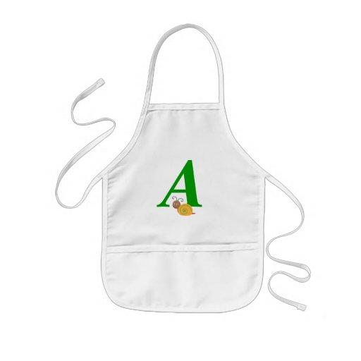Monogram letter A brian the snail kids apron