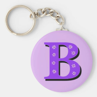 Monogram Letter B Basic Round Button Key Ring