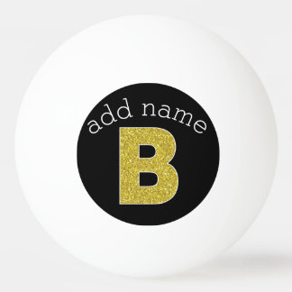 Monogram Letter B - black and fake glitter Ping Pong Ball