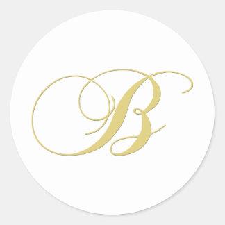 Monogram Letter B Golden Single Round Sticker