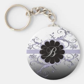 Monogram Letter B Violet Key Ring