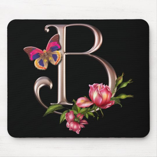 MONOGRAM LETTER B WITH ROSES AND BUTTERFLY MOUSE MAT